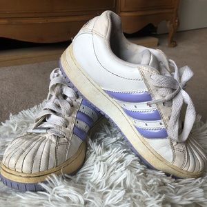 Adidas white and purple sneakers
